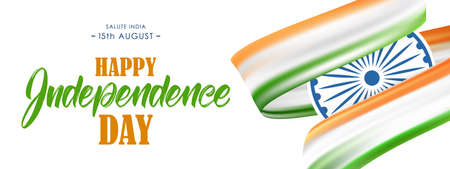 Banner with Indian flag and Hand lettering of Happy Independence Day. 15th August. Salute India Vettoriali