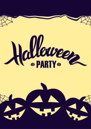 Vector illustration: Vertical design template background with Handwritten lettering of Halloween and pumpkins