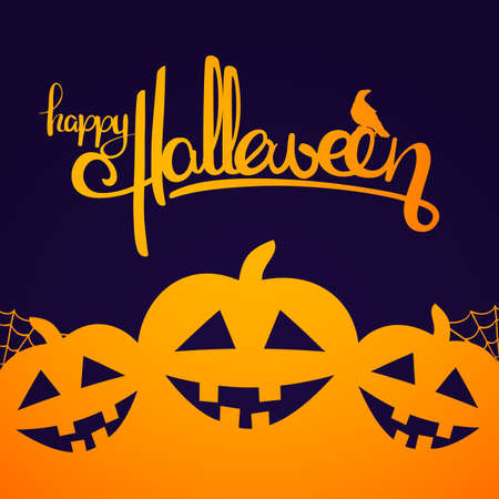Vector illustration: Background with Handwritten lettering of Happy Halloween and pumpkins.