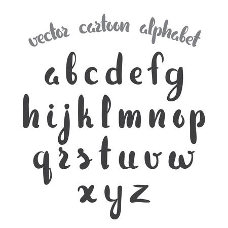 Vector illustration: Hand Drawn English alphabet letters isolated on white background. Modern brush lettering.
