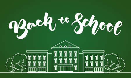 Vector illustration: Flat line white school building with trees and hand lettering Back to school on green blackboard background. Illustration
