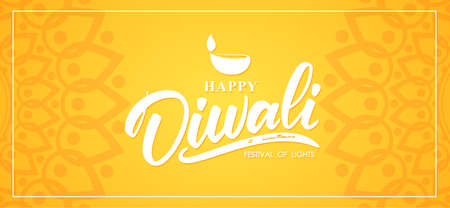 Happy Diwali. Greeting banner wit hand lettering, Indian ornament and lamp