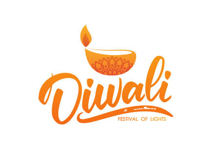 Happy Diwali. Greeting type with oil lamp and flame. Handwritten lettering for festival of light on white background Illustration