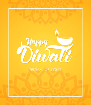 Happy Diwali. Greeting card wit hand lettering, Indian ornament and lamp with flame
