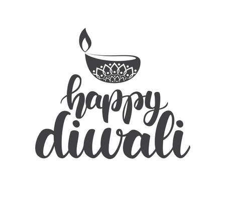 Handwritten lettering type of Happy Diwali with lamp. Vector illustration
