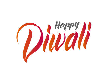 Handwritten lettering type composition of Happy Diwali on white background. Vector illustration
