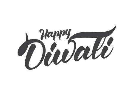 Handwritten lettering composition of Happy Diwali. Vector illustration Stock Photo