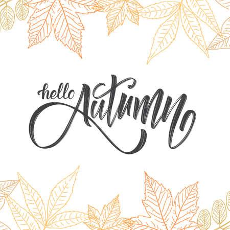 Handwritten brush lettering of Hello Autumn on hand drawn leaves background. Outline sketch design Stockfoto - 106055418
