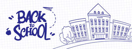 Ilustración vectorial: Dibujado a mano letras tipográficas de Regreso a la escuela con edificio escolar en una hoja de fondo de libro de ejercicios