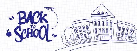 Vectorillustratie: Hand getekend typografische belettering van terug naar school met schoolgebouw op blad van werkboek achtergrond