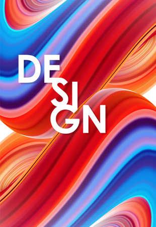 Vector illustration: 3D Colorful abstract twisted fluide background. Design liquido poster alla moda