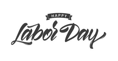 Vector illustration: Handwritten brush type lettering of Happy Labor Day on white background Çizim
