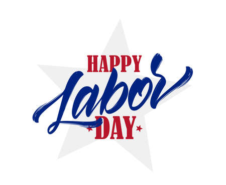 Vector illustration: Hand drawn typographic lettering of Happy Labor Day with star on white background