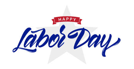 Vector illustration: Handwritten lettering composition of Happy Labor Day with star isolated on white background.  イラスト・ベクター素材