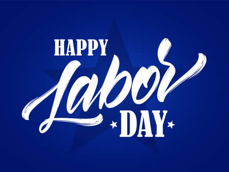 Vektorillustration: Beschriftungszusammensetzung des glücklichen Arbeitstages auf blauem Hintergrund.
