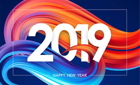 Vector illustration: Happy New Year 2019. Greeting card with colorful abstract twisted paint stroke shape. Trendy design