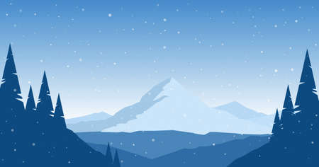 Vector illustration: Winter flat Mountains landscape with pines, hills and snowflakes. Иллюстрация