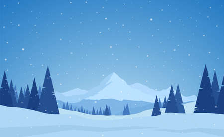 Vector illustration: Winter snowy calm Mountains landscape with pines, hills and snowflakes.