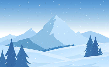 Vector illustration: Winter snowy flat Mountains landscape with pines, hills and snowflakes.