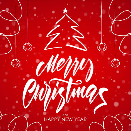 Vector illustration: Greeting card with Handwritten brush lettering of Merry Christmas, Christmas tree and decoration on red snowflakes background.