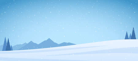 Vector illustration: Winter snowy Mountains landscape with pines and field.
