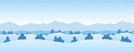 Vector illustration: Winter Mountains landscape with pines and hills. Фото со стока - 111488948