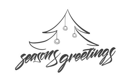 Vector illustration: Handwritten textured brush lettering of Seasons Greetings with Christmas tree Illusztráció
