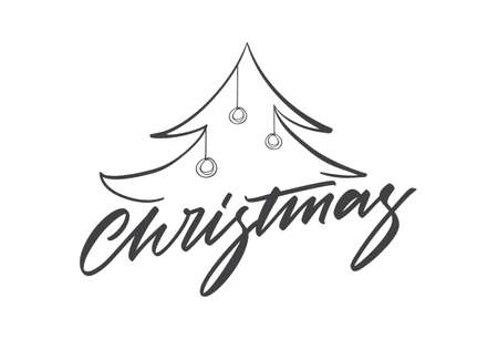 Vector illustration: Greeting card template with Handwritten type lettering of Christmas and Christmas tree