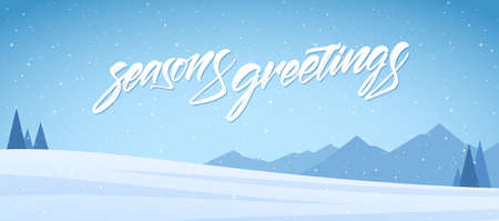 Vector illustration. Blue mountains winter snowy landscape with handwritten textured lettering of Seasons Greetings