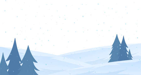 Vector illustration: Template of Christmas greeting card with winter snowy hillside landscape