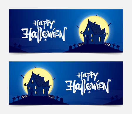 Vector illustration: Two Party banners with hand drawn haunted house and lettering of Happy Halloween. Ilustração