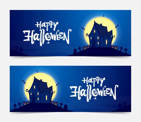 Vektorillustration: Zwei Party-Banner mit handgezeichnetem Spukhaus und Schriftzug von Happy Halloween.