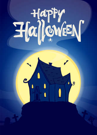 Vector illustration: Party poster with hand drawn haunted house and lettering of Happy Halloween.