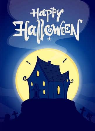 Vektorillustration: Partyplakat mit Hand gezeichnetem Spukhaus und Beschriftung von Happy Halloween.