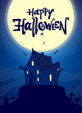 Party poster with hand drawn haunted house and lettering of Happy Halloween on fool moon background. Ilustração