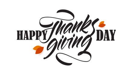 Vector handwritten calligraphic brush lettering composition of Happy Thanksgiving Day with fall leaves.