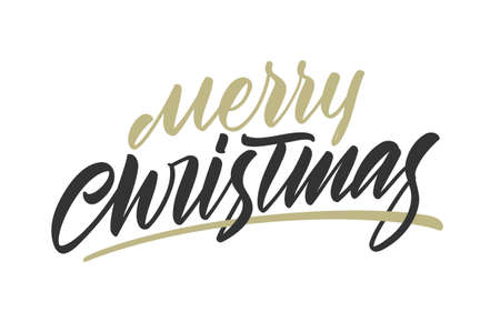 Vector handwritten calligraphic gold brush type lettering of Merry Christmas