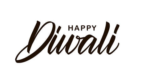 Handwritten lettering composition of Happy Diwali on white background. Vector illustration.