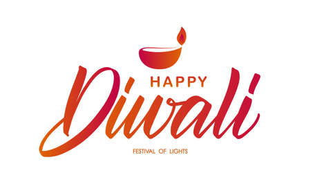 Handwritten brush type lettering of Happy Diwali in flame colors on white background. Vector illustration. Illustration