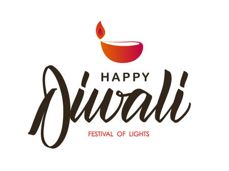 Handwritten brush lettering type composition of Happy Diwali with lamp. Vector illustration.