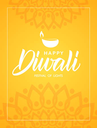 Happy Diwali. Vector Greeting poster with handwritten lettering, Indian ornament and lamp. Illustration
