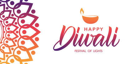 Bannière de voeux indienne colorée avec lettrage manuscrit de Happy Diwali et lampe. Illustration vectorielle. Vecteurs
