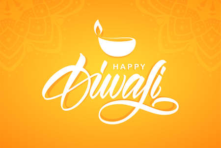 Greeting card with Handwritten calligraphic type lettering of Happy Diwali with lamp on orange background.
