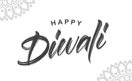 Vector illustration. Hand drawn brush type lettering of Happy Diwali on white background
