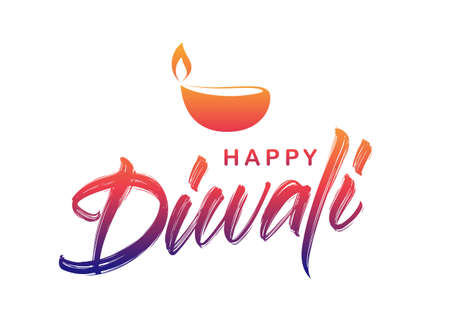 Handwritten brush textured type lettering of Happy Diwali with lamp on white background. Vector illustration.