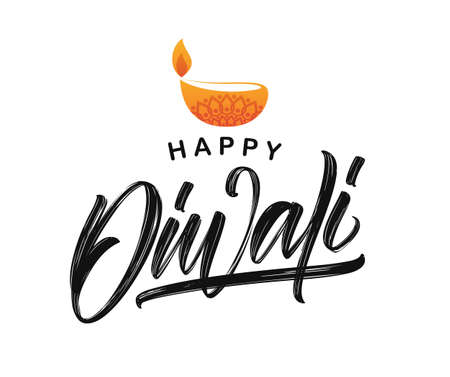 Vector illustration. Handwritten brush textured type lettering of Happy Diwali with lamp on white background