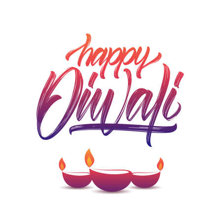Vector illustration. Colorful Handwritten brush textured type lettering of Happy Diwali with lamps on white background Illustration