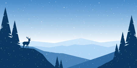 Vector illustration: Flat winter mountains landscape with hills, pine and silhouette of deer Stock Illustratie