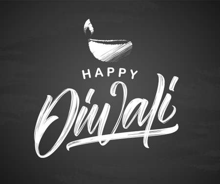 Vector illustration. Handwritten calligraphic type lettering of Happy Diwali with lamp on chalkboard background