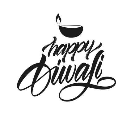 Handwritten elegant calligraphic type lettering of Happy Diwali with lamp on white background. Vector illustration.